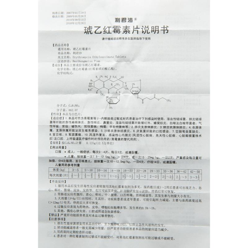 琥乙红霉素片0.125g*24片